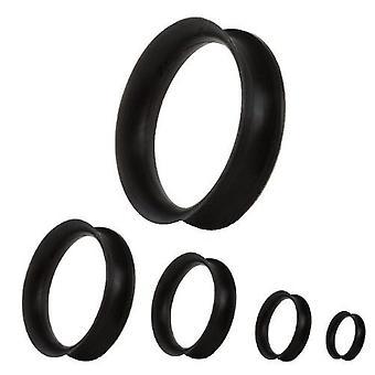 Øre Flesh Tunnel Piercing tynd, krop smykker, sort silikone | 3 - 30 mm