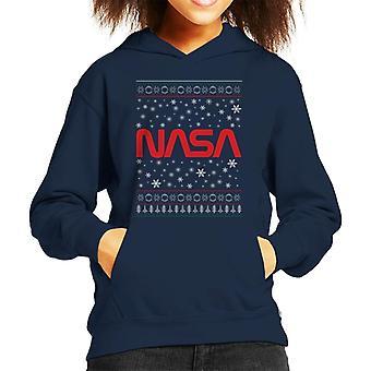 The NASA 1975-1992 Logo Christmas Knit Pattern Kid's Hooded Sweatshirt