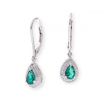 Star Wedding Rings Sterling Silver Earring Set With Emerald Gem Stone And Diamonds