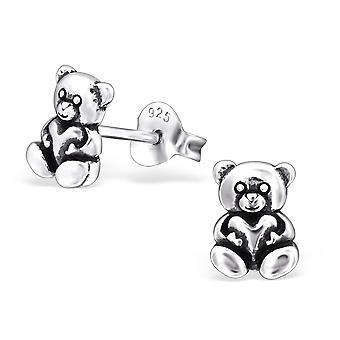 Teddy Bear - 925 Sterling Zilver Plain Ear Studs - W27763x
