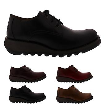Womens Fly London Simb Rug Leather Work Wedge Heel Office Lace Up Shoes