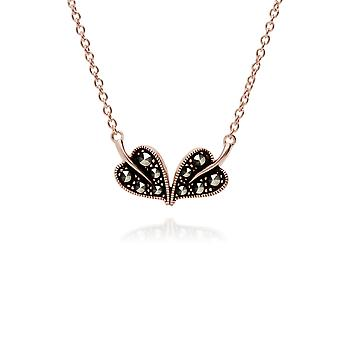 Rose Gold Plated Round Marcasite Double Leaf Necklace in 925 Sterling Silver 224N017201925