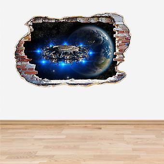 Full Colour Alien UFO Earth Smashed Wall 3D Effect Wall Sticker