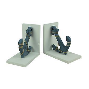 Blaue und weiße nautischen Anker Buchstützen