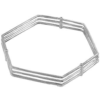Anchor and Crew Walton Tri-Rail Geometric Bangle - Silver