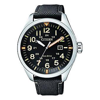 שעון לגברים אנלוגיים האזרח קוורץ עם רצועת בד AW5000-24E