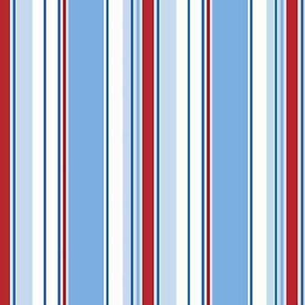 Poppins streep behang gestreepte Stripey Kids slaapkamer blauw wit rood Holden