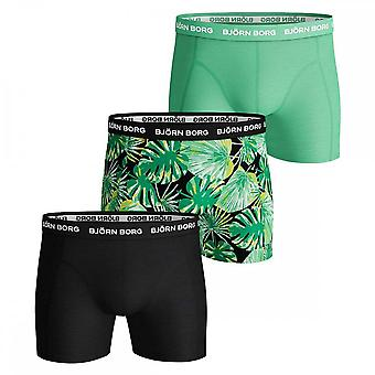 Bjorn Borg 3 Pack Essential Shorts, Black / Print / Green, Large