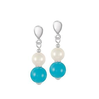 Eternal Collection Duet Turquoise & Shell Pearl Silver Tone Drop Clip On Earrings