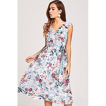 Little Mistress Ria Floral-Print Midi Dress