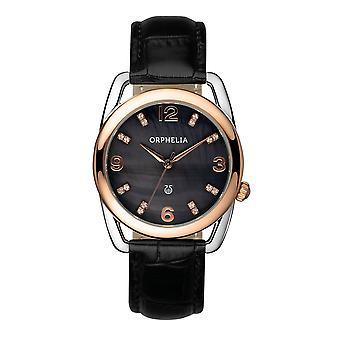 ORPHELIA Damen Analog Watch Classic Glam schwarz Leder 153-1723-44