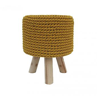 Furniture Rebecca Stool Sitting Yellow Wood Fabric 45x35x35