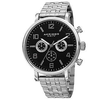 Akribos XXIV hommes AK800 Quartz chronographe cadran blanc en acier inoxydable BraceletWatch AK800SSB