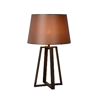 Lucide Coffee Cottage Round Metal Brown And Wood Table Lamp