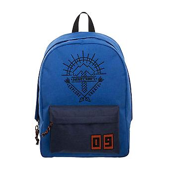 Minecraft Backpack Bag Explore Create Logo new Official Gamer Blue