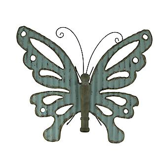 Country Blue Galvanized Metal Art and Wood Butterfly Wall Sculpture