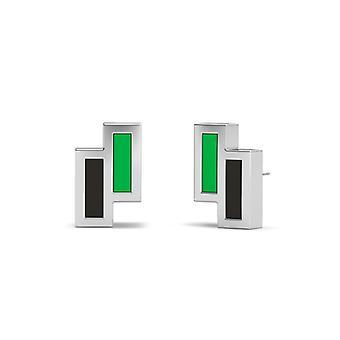 Marshall University Sterling Silver Asymmetric Enamel Stud Earrings In Green & Black