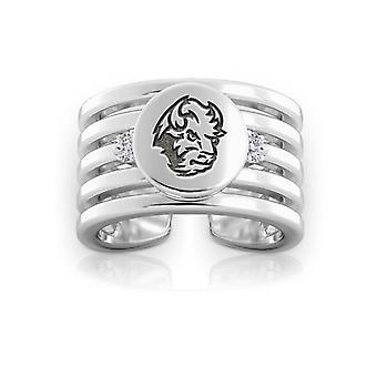 North Dakota State University Graverad Sterling Silver Diamond Multiband Cuff Ring