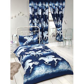 Navy Blue Stardust Unicorn 4 in 1 Junior Bedding Bundle Set