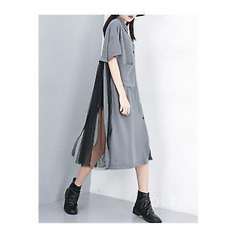 Solid Mesh Patchwork Oversize Long Dress