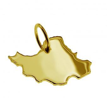 Hänge karta kedja hänge i guldgult-guld i form av IRAN