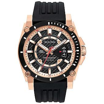 Bulova Men's Precisionist Rose Gold Black Rubber Strap 98G152 Watch