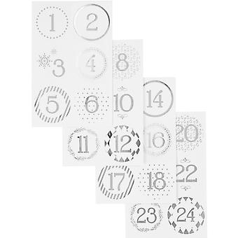 Metallic Silver Scandinavian Style Advent Number Stickers