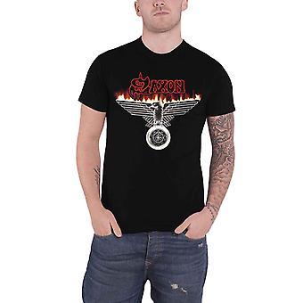 Saxon T Shirt Wheels Of Steel Eagle Band Logo new Official Mens Black