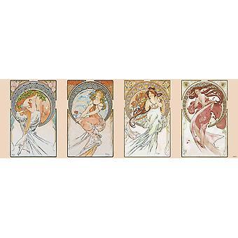 Alfons Mucha Poster Jugendstil Die Vier Künste Die Poesie, die Malerei, die Musik und der Tanz Kleinformat