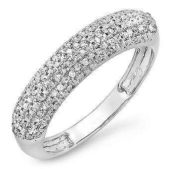 Dazzlingrock kollektion 0,18 Carat (CTW) 14K runde diamant damer jubilæum bryllup band, hvid guld