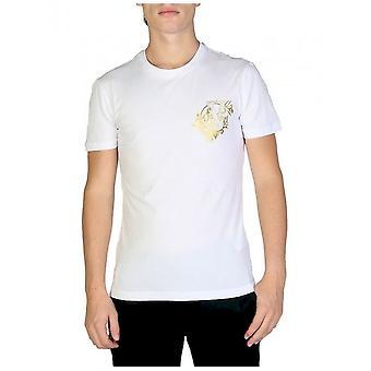 فيرساتشي جينز - ملابس - تي شيرت - B3GSB76I_36620_003 - رجال - أبيض، ذهبي - XXL