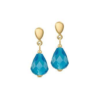 Eeuwige collectie verfijning Turquoise Crystal Gold Tone drop doorstoken oorbellen