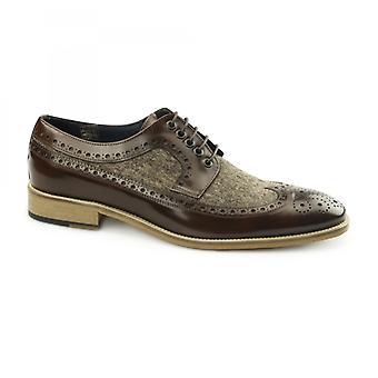 Carvelos Catania Mens Leather Tweed Brogues Brown/brown