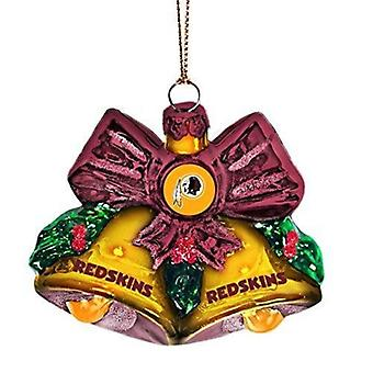 Washington Redskins NFL Blown Glass Holiday Bells Ornament