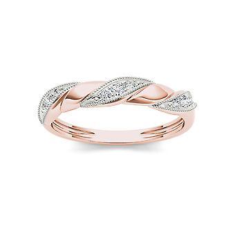 Igi gecertificeerd 10k roségoud 0,1 ct diamant verjaardag bruiloft engagement band