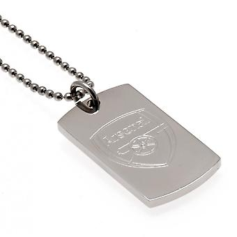 Arsenal FC Engraved Dog Tag And Chain