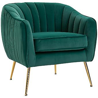 Velvet-Look Shell Shaped Chair w/ Gold Tone Legs Adjustable Feet Padding Top Cushion Green