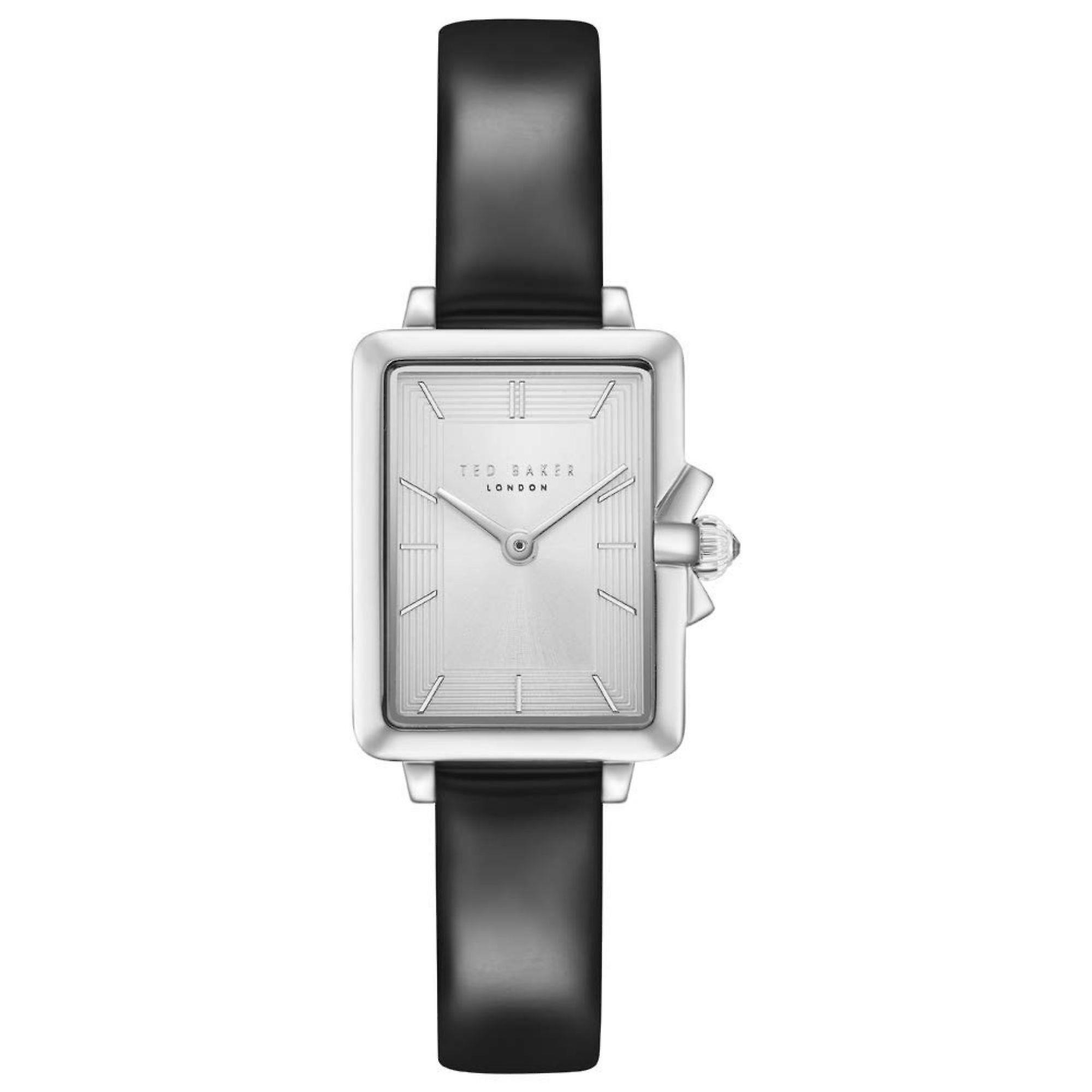 Ted Baker Tess Quartz Retro Square Silver Dial Black Leather Strap Ladies Watch TE50271001