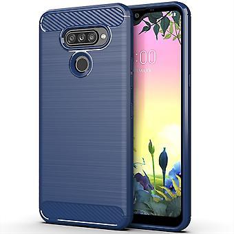 LG K50S TPU caja de fibra de carbono fibra de carbono cepillado manga protectora azul