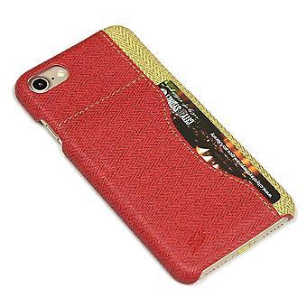 Para iPhone SE(2020), 8 e 7 Case, Elegante Padrão tecido Durável Capa de Couro Protetor, Vermelho