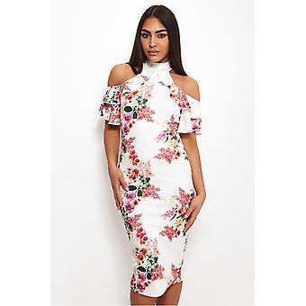 Tiana Floral kalte Schulter Midi Kleid