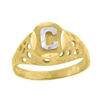 10k Två ton Guld baby för pojkar eller girlsLetter Namn Personlig Monogram Initial C Band Ring Åtgärder 7.5x2.20mm Wide S