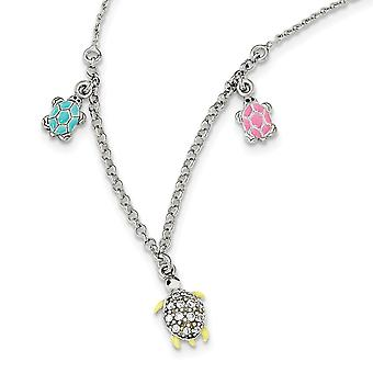 925 Sterling Silver Enamel CZ Cubic Zirconia Simulated Diamond Turtle for boys or girls Necklace 14 Inch