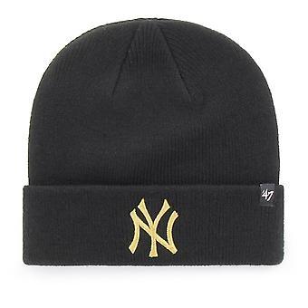 47 Brand Knit Beanie - Metallic New York Yankees Black