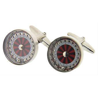 David Van Hagen Roulette Wheel Cufflinks - Red/Black/White