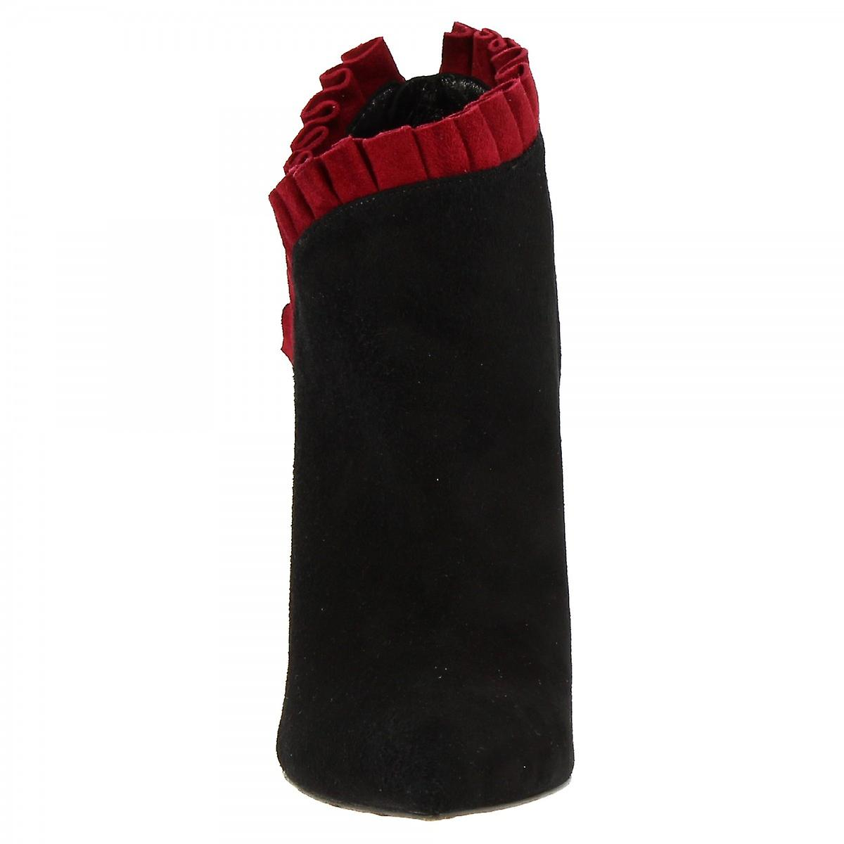 Chaussures De Cheville À Talons Hauts Faites La Main Pour Femmes En Cuir Daim Noir Avec Volant Rouge