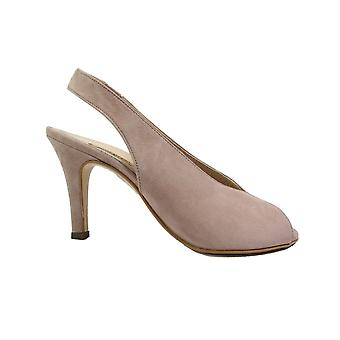 Paul Green 7475-10 Rose Rosa Mocka Läder Kvinnors Stiletto Sling Tillbaka Peep Toe Sandaler