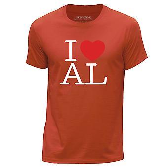 STUFF4 Men's Round Neck T-Shirt/I Heart AL / Love Alabama USA/Orange
