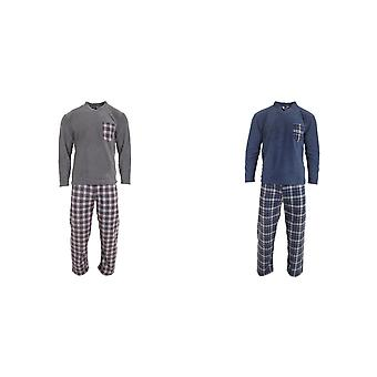 Harvey James mens geruite Fleecy Pyjama's set