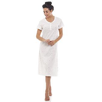 Camille White Lightweight Glitter Heart Short Sleeved Nightdress